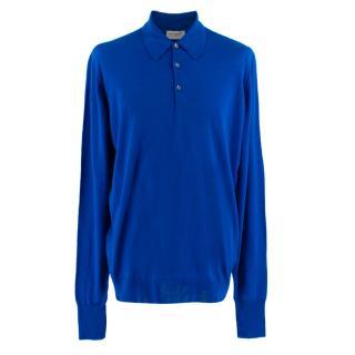 John Smedley Royal Blue Knit Polo Shirt