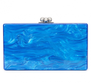 Edie Parker Blue Marble Effect Box Clutch