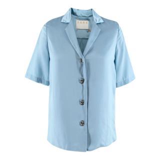 S.A.R.K Blue Satin Ring Pull Shirt
