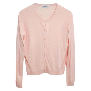 Christian Dior Pale Pink Silk Knit Cardigan