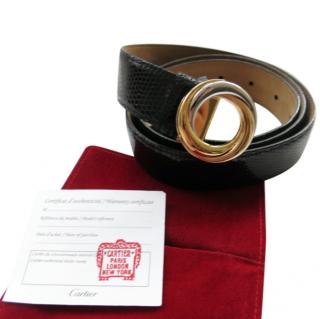Cartier Trinity black and gold lizard belt