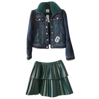 Mayoral Kid's 8Y Denim Jacket & Pleated Skirt