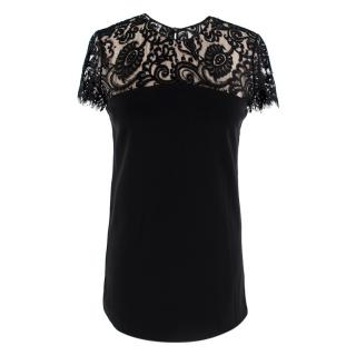Gucci Black Lace Trimmed Cap-Sleeve Top