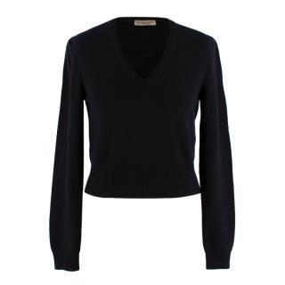 Bottega Veneta Black V-Neck Cropped Cashmere Jumper
