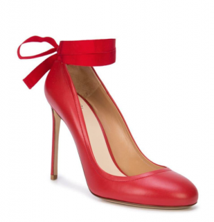 Francesco Russo Red Leather Bow Tie Pumps