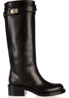 Givenchy Black Leather Shark Lock Riding Boots