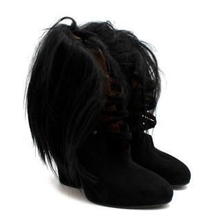Bottega Veneta Black Suede Strappy Hair Trimmed Booties