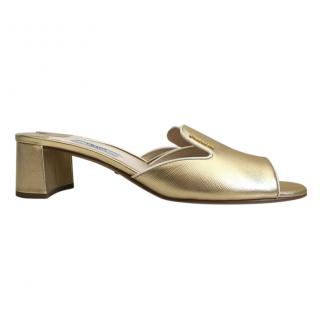 Prada gold saffiano leather mules