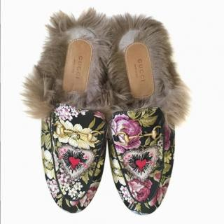 Gucci Princetown floral fur lined horse-bit slippers