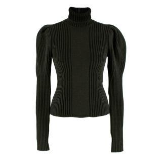 Bottega Veneta Wool Khaki Roll Neck Puff Sleeve Top