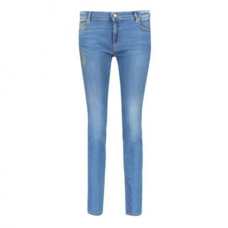 Roberto Cavalli blue snake print skinny jeans