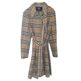 Burberry wool beige check belted coat