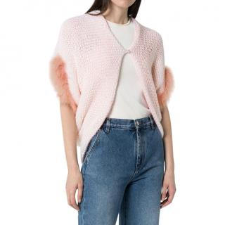 Loewe Pink Contrast Wool Knit and Feather Bolero