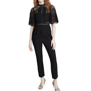 Self Portrait Black Fine Lace & Crepe Jumpsuit