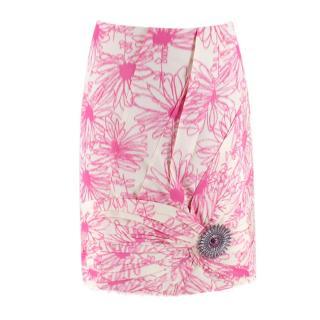 Calvin Klein 205W39NYC Brooch-Embellished Silk Skirt