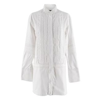 Burberry White Embroidered Shirt Dress
