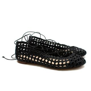 Francesco Russo Black Leather Woven Ballerinas