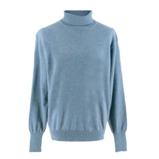 Doriani Blue Cashmere Turtleneck