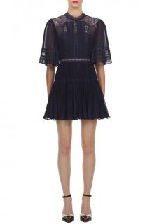 Self Portrait Blue Chiffon and Lace Panel Mini Dress