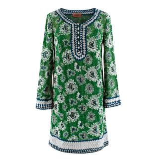 Missoni Green Embroidered Metallic Crochet-Knit Mini Dress