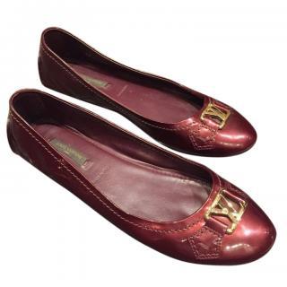 Louis Vuitton Red Vernis Ballerina Flats