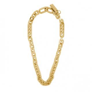 Prada Gold Tone Chain & Ball Hoop Necklace