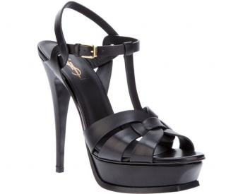 Yves Saint Laurent black leather tribute sandals