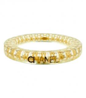Chanel Gold Faux Pearl Plexiglass Bracelet