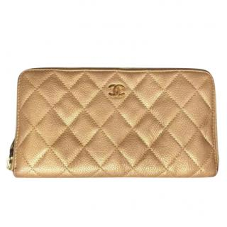 Chanel gold quilted leather CC timeless zip around wallet