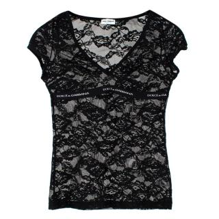 Dolce and Gabbana Sheer Black Lace Top