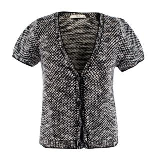 Prada Black & White Tweed Cardigan