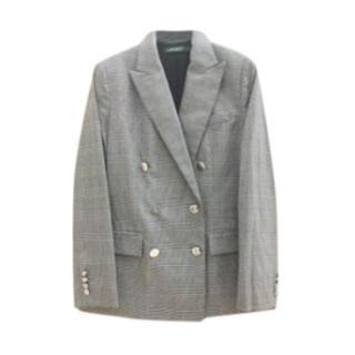 Lauren Ralph Lauren double-breasted grey check blazer