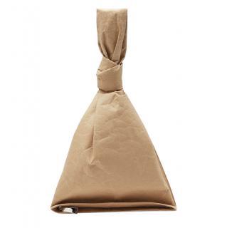 Bottega Veneta Paper Effect Calfskin Lined BV Twist Bag in Kraft