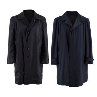 Tom Ford Reversible Navy Blue Wool Trench Coat