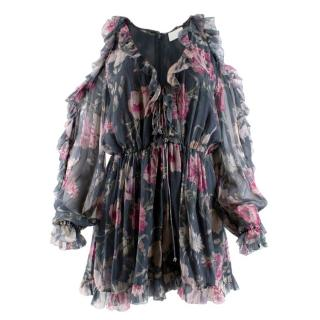 Zimmermann Iris Floral Grey Silk Playsuit