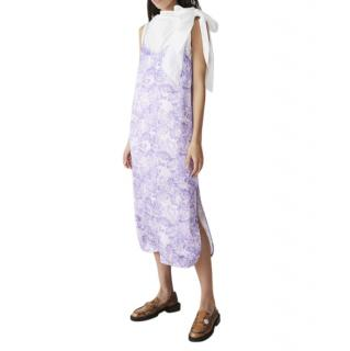 Ganni violet satin floral-print midi slip dress