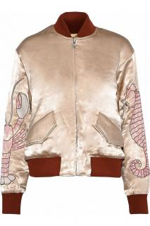Ganni Leclair embroidered satin bomber jacket