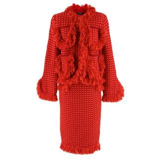 Sibling London Red Tweed Wool Skirt & Jacket