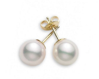 Mikimoto 18ct Yellow Gold 7-7.5mm Pearl Stud Earrings