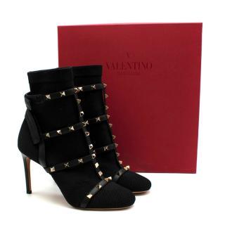 Valentino Garavani Rockstud leather-trimmed stretch-Knit Sock Boots