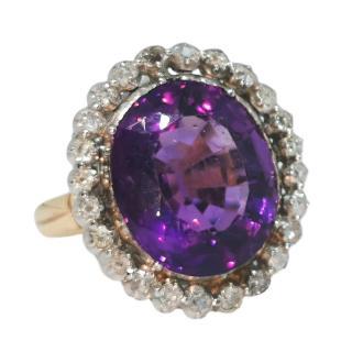 Bespoke 15ct gold amethyst & rose cut diamond ring