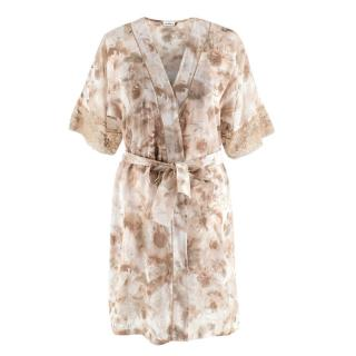 La Perla Floral Print Nude Night Dress & Robe
