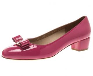 Salvatore Ferragamo Patent Pink Vara Bow Block Heel Pumps
