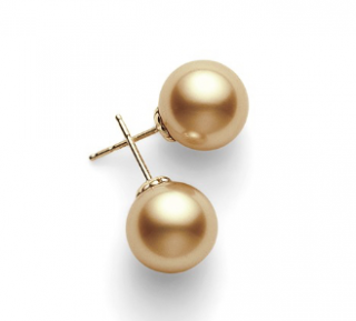 Mikimoto Golden South Sea Pearl Stud Earrings in Yellow Gold