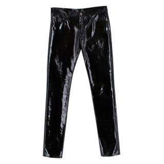 Saint Laurent Mid-Rise Slim Fit Vinyl Trousers