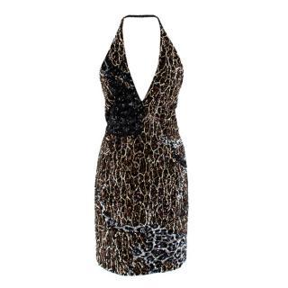 Alexander Terekhov Leopard Print Sequin Halterneck Dress