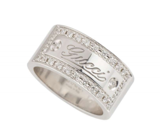 Gucci White Gold Wide Logo Ring with Diamonds