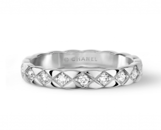 Chanel Quilted Motif Mini Ring - 18K white gold & diamonds