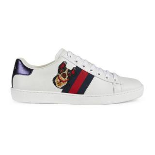 Gucci Ace Boston terrier embroidered white trainers