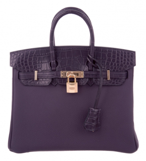 Hermes Birkin Touch 30 Raisin Togo & Matte Pruenoir Alligator RGH